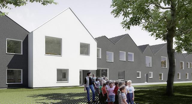 Budynek szkoły w Umiastowie charakteryzuje się też grą kontrastów